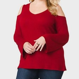 Roz & Ali Cold Shoulder Sweater Size 2X Red